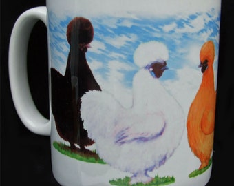Silkies Poultry mixed colours, Ceramic Mug