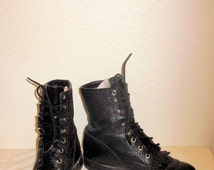 sz 5.5 B vintage black  leather justin lace up granny combat boots