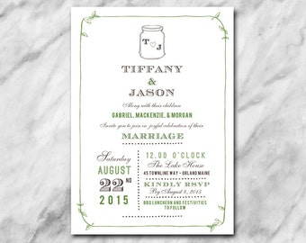 Fresh wedding invitation with hand drawn leaves, mason jar and classic elegant fonts.