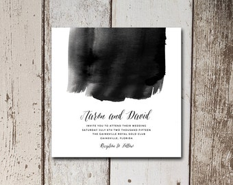 Hand painted effect wedding invite with an elegant script font on white background.