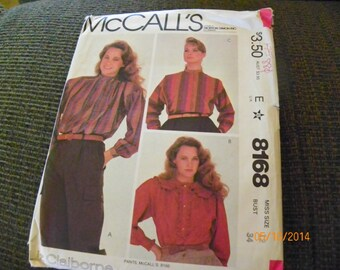 Vintage 1982 McCalls 8168 Sewing Pattern Misses' Blouses Miss Size 12