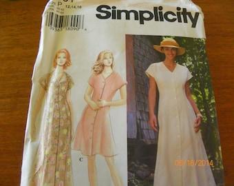 Vintage 1996 Simplicity 9601 Sewing Pattern Misses'/Miss Petite Dress, Size P 12, 14, 16