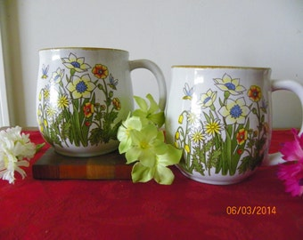 Pair of Vintage Speckled Floral Stoneware Mugs