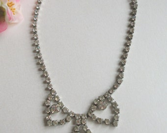 Vintage Rhinestone Necklace, Pendant Setting, VIntage Wedding, Bridal, Gift, Box Clasp