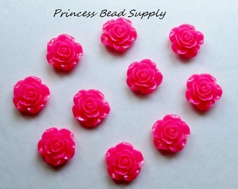 Set of 10 Hot Pink Resin Rose Flower Chunky Beads, 20mm Rose Beads, 20mm Flower Beads, Bubble Gum Beads,  Gumball Beads, Acrylic Beads