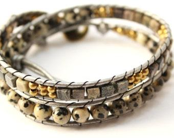Leather Wrap Bracelet; Eggstone Leather Wrap Bracelet, Natural Wrap Bracelet, 3 wrap Leather Bracelet, Beaded Wrap Bracelet