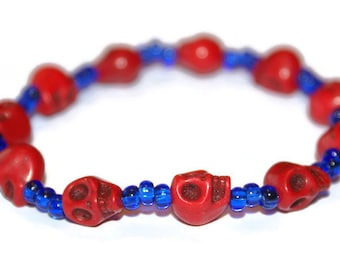 Red skull and blue seed bead bracelet, stretch elastic, skull bracelet, skull bead bracelet, elastic bracelet, beaded bracelet,