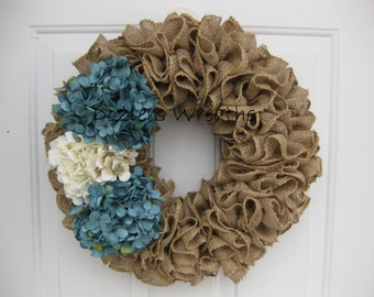 NEW COLORS AVAILABLE - Ruffled Burlap Wreath with Teal and Ivory Hydrangeas