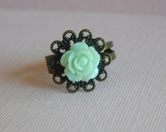 Mint Rose Ring, Adjustable, Antique Bronze Finish