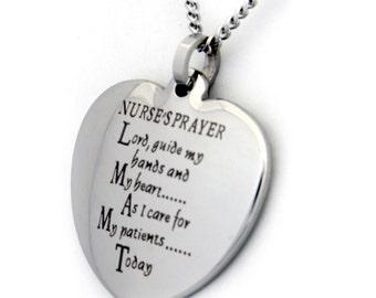 "Nurse's Prayer or Serenity Prayer Pendant or Charm, 18"" Chain, Stainless Steel Prayer Necklace, Inspirational Jewelry"