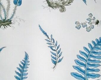 LEE JOFA GP J Baker Botanical Strolling Ferns Fabric 10 Yards Blue Indigo Amber White