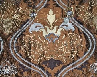 DESIGNER ART NOUVEAU Deco Fleur de Lis Embroidered Silk Fabric 10 Yards Brown Blue Black Multi