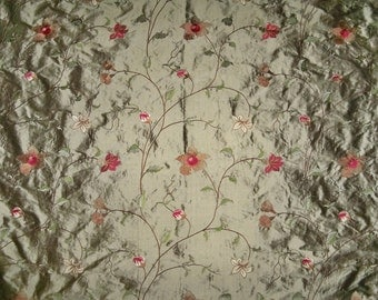 PASARI OLIVIA Floral Embroidered SILK Fabric 10 Yards Olive Amber Cream Burgundy Green Multi