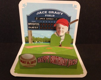 Baseball Theme Birthday Pop Up Card personalized