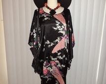 Vtg Boho Hippie Gypsy Witch Ethni Black Japanese Peacock Caftan Dress OS