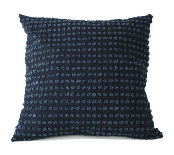 Textured blue pillow cover designer fabric throw pillow blue - Fabric for throw pillows ...