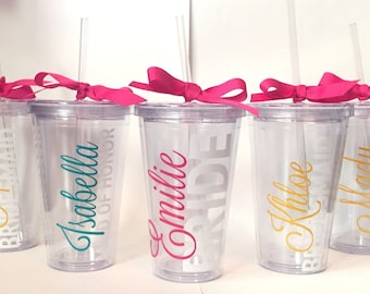 Personalized Bridal Tumblers - Set of 6, Bridal shower gifts, Wedding party favors, Bachelorette gifts, Bachelorette party gifts