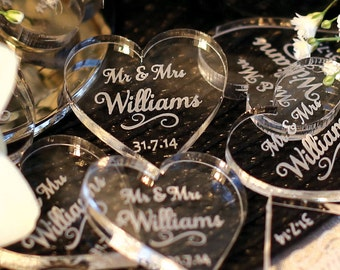 Personalised Mr & Mrs Love Hearts Wedding Table Decoration Favour 3cm x 3cm