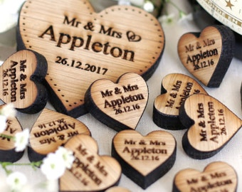 Personalised Wooden Hearts Rustic Wedding Favors Love Hearts Wedding Table Decorations Favours Oak 2cm