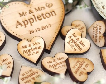 Personalised Wooden Rustic Love Hearts Wedding Table Decorations Favours Maple 2cm