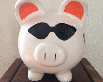 Harley Davidson Inspired Personalized Hand Painted Piggy Bank