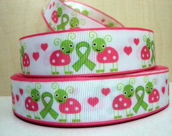 1 inch - Green Ribbon AWARENESS Cute Ladybugs Pink and Lime Green -  Printed Grosgrain Ribbon for Hair Bow