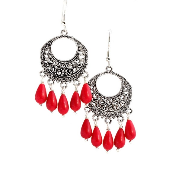 Red Coral Chandelier With 3 Lights: Red Coral And Silver Chandelier Earrings / Red Teardrop Dangle