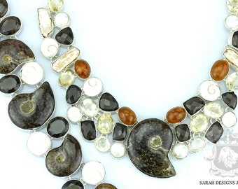Cant Miss This SHIVA Shell AMMONITE AMBER 925 Solid Sterling Silver Bracelet Necklace Set 73