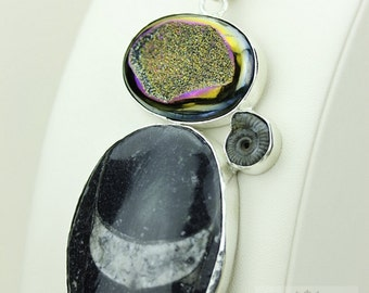 Chubby ORTHOCERAS FOSSIL TITANIUM Drusy Druzy 925 S0LID Sterling Silver Pendant + 4mm Snake Chain & Free Worldwide Express Shipping mp435