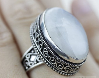 SIZE 8 Ceylon Moonstone 925 S0LID (Nickel Free) Sterling Silver Vintage Setting Ring & FREE Worldwide Express Shipping R1752