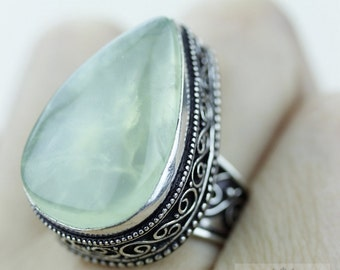 SIZE 8 African PREHNITE 925 S0LID (Nickel Free) Sterling Silver Vintage Setting Ring & FREE Worldwide Express Shipping R1753
