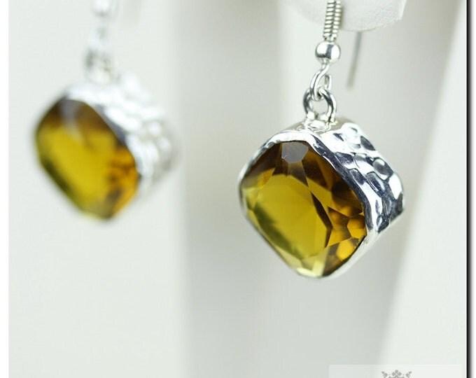 INTENSE Color BRANDY CITRINE 925 Solid (Nickel Free) Sterling Silver Italian Made Dangle Earrings E386