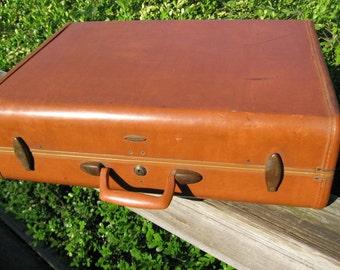 "Samsonite Shwayders Bros., Inc Denver Detroit"" Saddle Tan Suitcase Samsonite 1950's Hard Shell Suitcase 30% Off/Samsonite Suitcases"