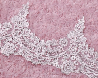 Ivory wedding lace trim,flowers embroidered lace,Cotton floral lace trim,scalloped trim lace for DIY dress,width 16CM(106-29)
