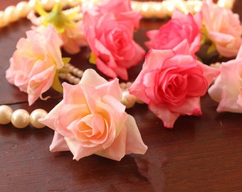 """50 Pcs Rose Heads Artificial Silk Flowers,1.57"""",Hair Accessories Flower Supply,For Wedding Pomander Kissing Ball Table Centerpieces(122-5)"""