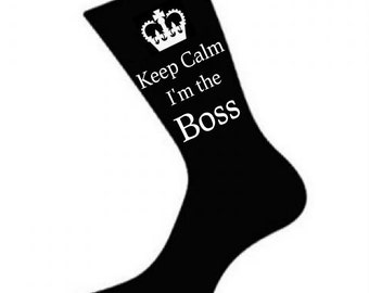 Mens Keep Calm i'm the Boss Socks. A fun Unique thoughtful Gift Idea for your Boss, Dad, Husband *Various colours*