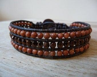 Beautiful Bronze Sparkly GOLDSTONE Gemstone Wrap Bracelet