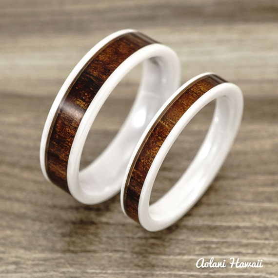 Wedding band set of ceramic rings with hawaiian by for Hawaiian wedding ring sets