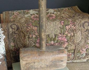 Vintage Wood Mallet / Primitive Hammer / Meat Mallet / Rustic Decor