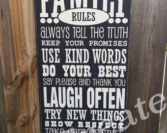 Family Rules, wood sign, distressed