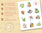 Printable Stickers for Agendas and Erin Condren Life Planners : Housework tasks, 100% watercolor!