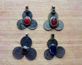 Set of four Kuchi Tribal Coins Pendants with Bail and Jewels, Vintage, Kuchi