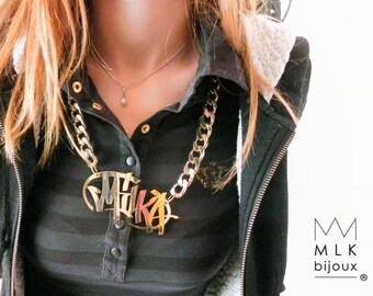 "necklace ""bling bling graffiti"" tag custom custom"