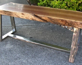 Black Walnut and Stainless Steel Bench