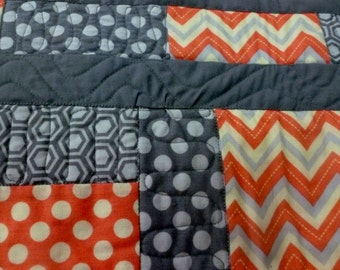 QuiltedTable Topper, SALE   stroller quilt, gray and coral