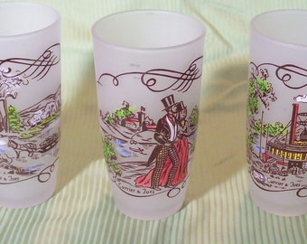 Glassware Currier & Ives - Hazel Atlas Glass Hand Decorated by Gay Fad Studios / 12 oz Frosted Tumblers- Set of 3