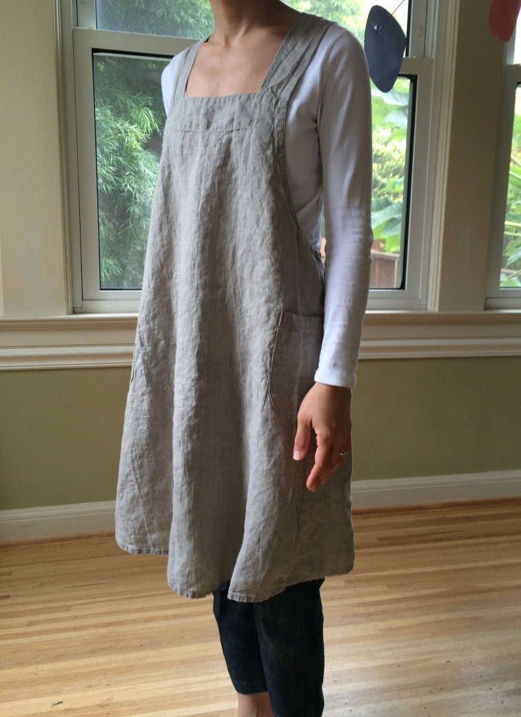 Linen Pinafore Apron Dress For Women In Natural Linen By