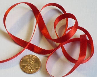 "1/4"" Silk Satin Double Face Ribbon, Christmas Red Ribbon"