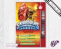 Skylanders Birthday Invitation - Trap Team - Fire - Wild Fire - SLF6-I