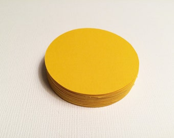 """25 Sunshine Yellow Circles, Paper Punches, Die cuts - 1.5"""", 2"""", 2.5"""", 3"""""""